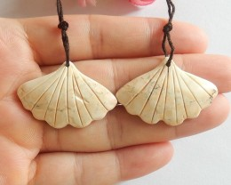 49ct Natural howlite carved leaf earring beads (18091553)
