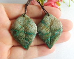 79ct Natural amazonite carved leaf earring beads  (18091552)