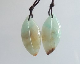 28.5ct Natural amazonite carved leaf earring beads  (18091551)
