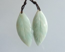 39ct Natural amazonite carved leaf  earring beads (18091548)