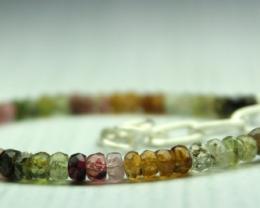 25 Crt Natural multi tourmaline Rondelle bracelet