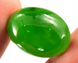 No Reserve 24.55 CTS Oval Shape Top Grade Color Nephrite Cabochon Gemston