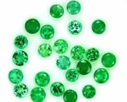 ~PARCEL~ 1.20 Cts Natural Emerald Nice Green 24 Pcs Round Cut Colombia