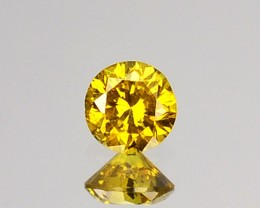 0.12 Cts Natural Golden Yellow Diamond 3.0 mm Round Cut Africa
