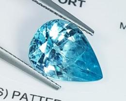 "6.73 ct ""IGI Certified"" Top Quality Gem Pear Cut Natural Blue Zir"