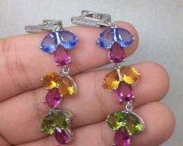 (A17) Brilliant 24.0tcw. Peridot, Tanzanite Pink Tourmaline Glass Earrings