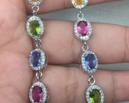 (A19) Brilliant 42.0tcw. Peridot Tanz & Pink Sapphire Glass CZ  Bracele