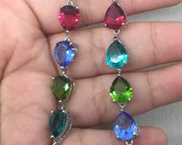 (A20) Superb 38.0tcw Rhodolite Peridot Aqua & Tanzanite Glass Bracelet