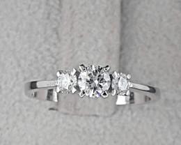Certified 3 Stone Diamond Ring 0.48tcw set in 14k White Gold