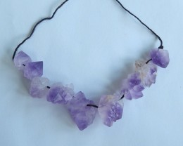 139ct Natural amethyst nugget beads purple necklace   (18091576)