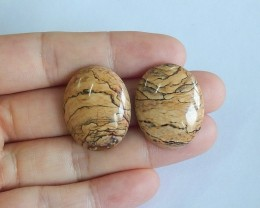 44.5ct Natural picture jasper cabochon beads customized jewelry  (18091594)