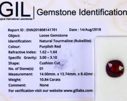 Certified|GIL~ 10.84 Ct Natural - Unheated Rubelite Tourmaline Gemstone
