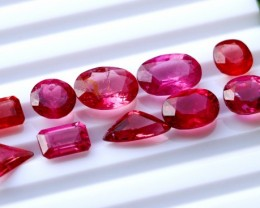 10Pcs 26.10 Ct Natural - Unheated Rubelite Tourmaline Gemstone