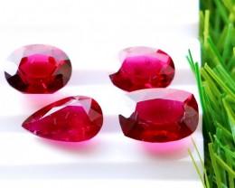 4 Pcs 13.90 Ct Natural - Unheated Rubelite Tourmaline Gemstone