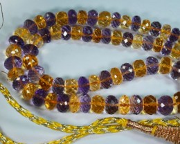 181Ct Natural Fancy Amethyst+Citrine Rondelle beads 42cm