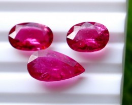 3 Pcs9.30 Ct Natural - Unheated Rubelite Tourmaline Gemstone