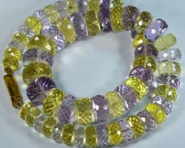 365.95Ct Amazing Natural Amethyst=Green Citrine Necklace 34cm
