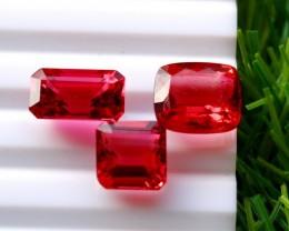 3 Pcs 12.90 Ct Natural - Unheated Rubelite Tourmaline Gemstone