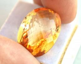 33.55 Carat Citrine -- Fine Oval Checkerboard Cut Stone