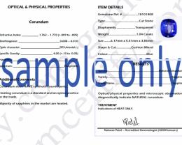 Sapphire Gemstone Laboratory Certificate