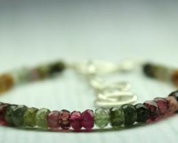 27 Crt Natural multi tourmaline Rondelle bracelet 0003