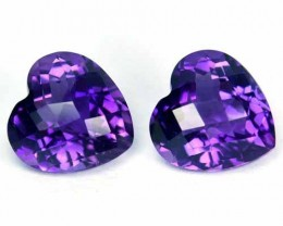 ~PAIR~ 7.15 Cts Natural AAA Purple Amethyst Heart Checkerboard Cut Bolivia