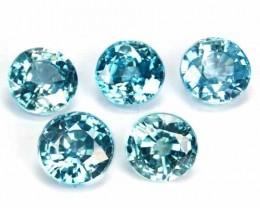 6.96 Cts Sparkling Blue Zircon Round Cut Round 5PCs