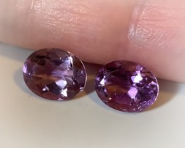 VIOLET OVAL AMETHYST PAIR - VVS -  9 X 7.00mm
