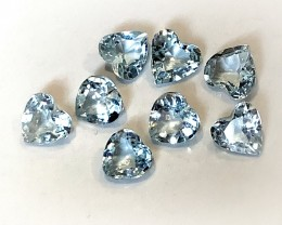 A premium parcel of 8 Aquamarine gems 3.80mm VVS