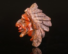 H5685 75cts  Warring States Red Agate Carved Indian Head Cabochon