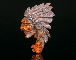 Top Quality Warring States Red Agate Carved Indian Head Cabochon
