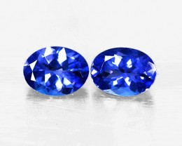 3.29 tcw Gorgeous Top Color IF/VVS Natural Tanzanite Pair Certified