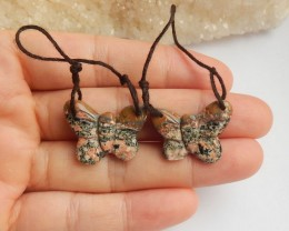 17ct Natural snow flake obsidian earring beads butterfly shape (18091640)