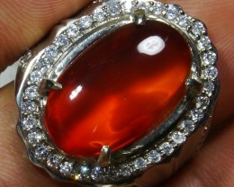 67.35 CT UNTREATED Clear Indonesian Red Chalcedony With Ring