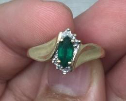 (B11) Fantastic Nat. $1500 Authentic 0.60ct Emerald Ring 10K YG 1.5gr