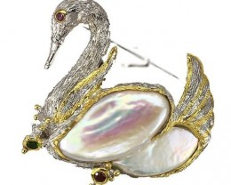 Exquisite SWAN Pearl Brooch - Rhodolite Garnet Chrome Sterling Silver Black