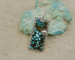Rare gemstone  37 Natural turquoise pendant silver turquoise necklace (1003