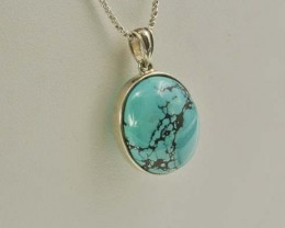 AAA Natural turquoise  pendant bead silver turquoise necklace 37.5ct