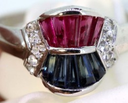9.6-CTS  BLUE SAPPHIRE RING BLUE ,WHITE AND PINK  SG-2753