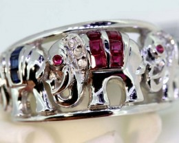 29.15-CTS  BLUE SAPPHIRE RING BLUE , WHITE AND PINK  SG-2754