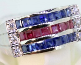 24.55-CTS  BLUE SAPPHIRE RING BLUE , WHITE  AND PINK SG-2757