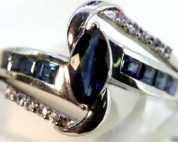 15.45-CTS  BLUE SAPPHIRE RING BLUE AND WHITE  SG-2758