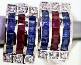 14.60-CTS  BLUE SAPPHIRE EARRING BLUE , WHITE  AND PINK  SG-2760