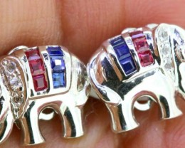 11.40-CTS  BLUE SAPPHIRE EARRING BLUE , WHITE AND PINK  SG-2761