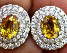17.15-CTS SAPPHIRE EARRING  YELLOW AND WHITE  SG-2763