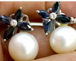 24.35-CTS  BLUE SAPPHIRE EARRING  BLUE , PEARL AND WHITE  SG-2764