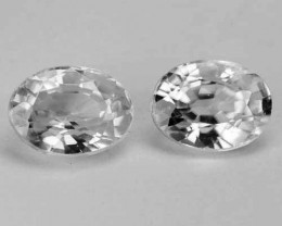 ~PAIR~ 2.67 Cts Natural Sparkling White Zircon 7 X 5mm Oval Cut Tanzania