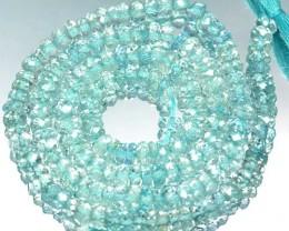 39.27Cts Brilliant Natural Aquamarine Rondelle Beads 34cm