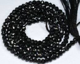 20.37Ct Lightning Natural Black Spinel Rondelle Beads 35cm