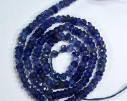 28.90Cts Marvelous Natural Blue Iolite Rondelle Beads 33cm